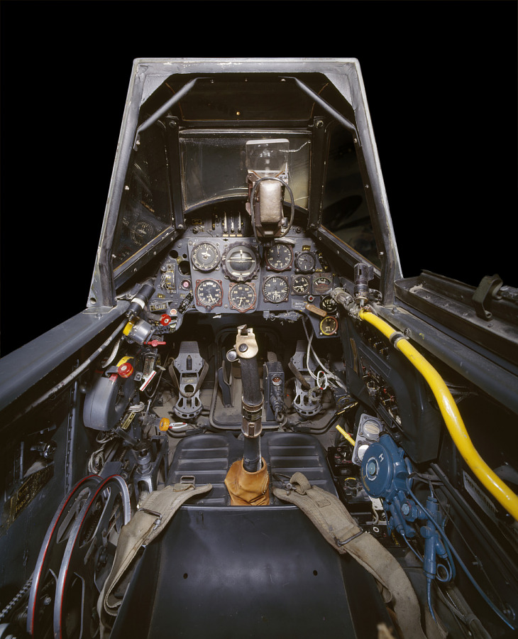 Interior view of cockpit and instrument panels from Messerschmitt Bf 109 aircraft