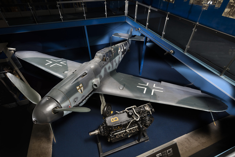 Gray Messerschmitt Bf 109 aircraft in museum