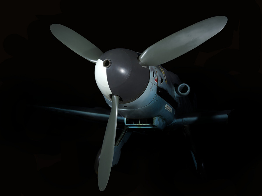 Three-blade propeller on nose of Messerschmitt Bf 109 aircraft