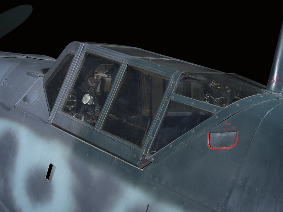 Outside of cockpit of Messerschmitt Bf 109 aircraft