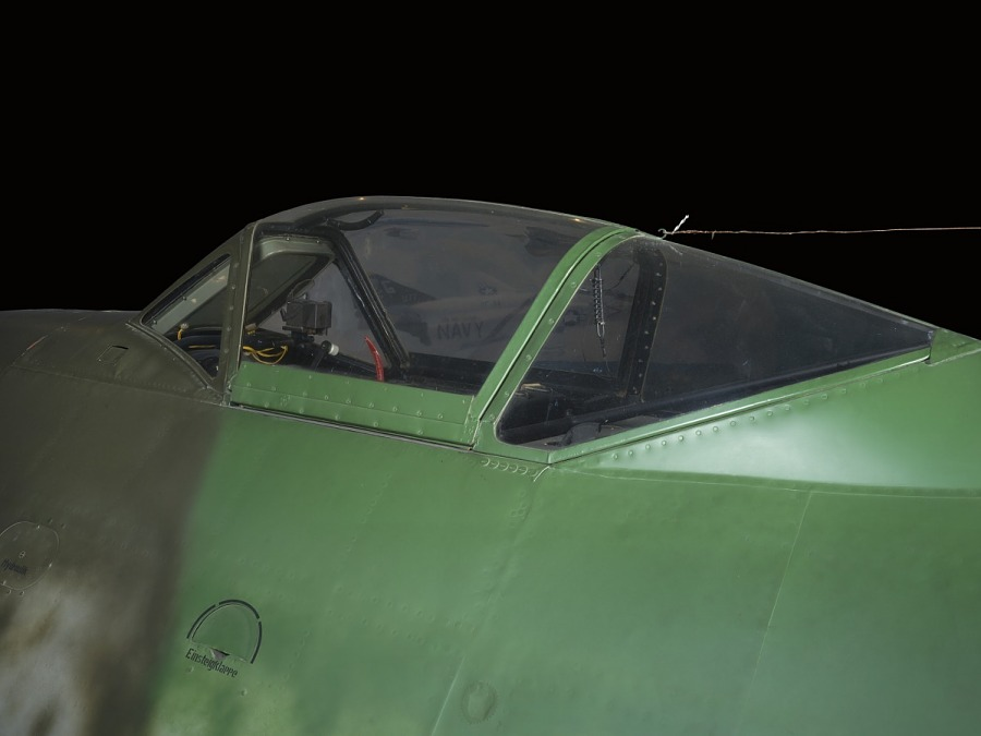 Outside of cockpit of green low-wing fighter jet Messerschmitt Me 262