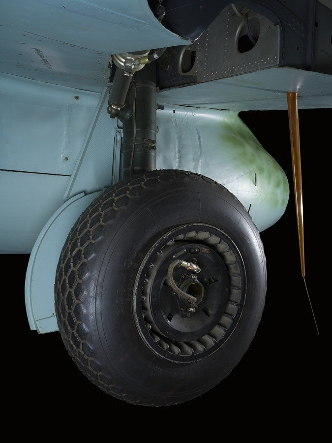 Black wheel and landing gear of Messerschmitt Me 262 jet
