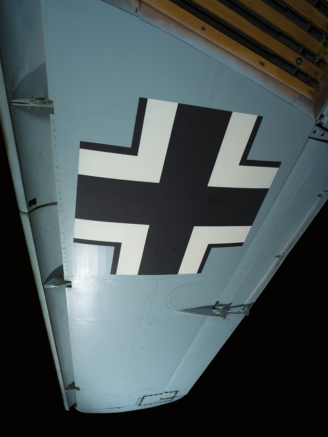 Underwing of Messerschmitt Me 262 jet with white and black cross