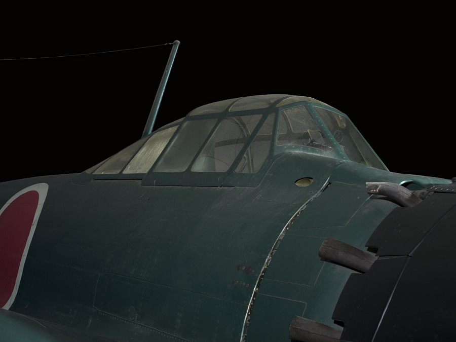 Outside of cockpit of green Zero Fighter aircraft