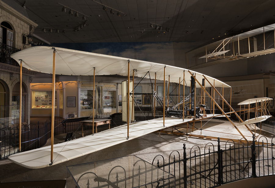 Wood, fabric, and metal canard biplane 1903 Wright Flyer in museum