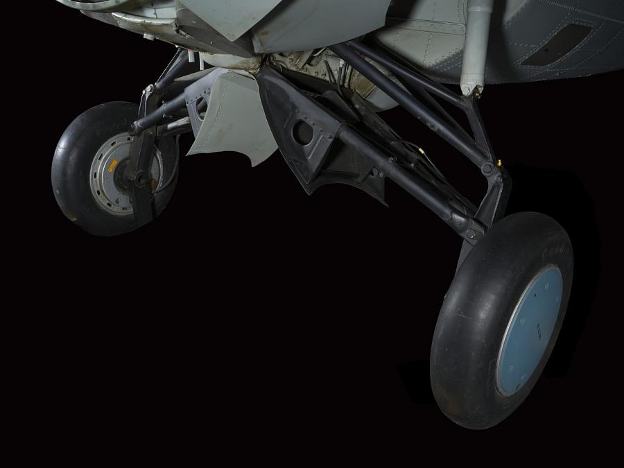 Blue wheels and landing gear of Grumman FM-1 (F4F-4) Wildcat aircraft