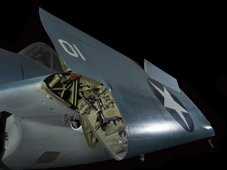 Folded wing of Grumman FM-1 (F4F-4) Wildcat aircraft