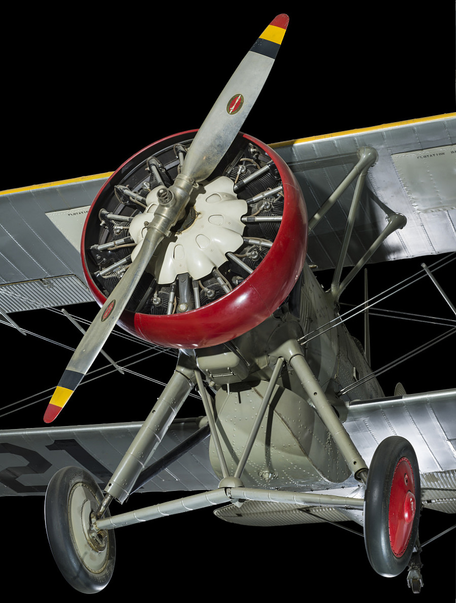 Front multi--colored single-blade propeller and engine of Boeing F4B-4 aircraft