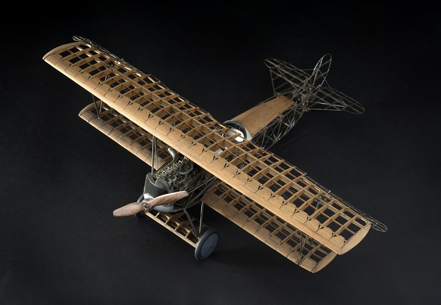 Wooden miniature model of Fokker D.VII aircraft