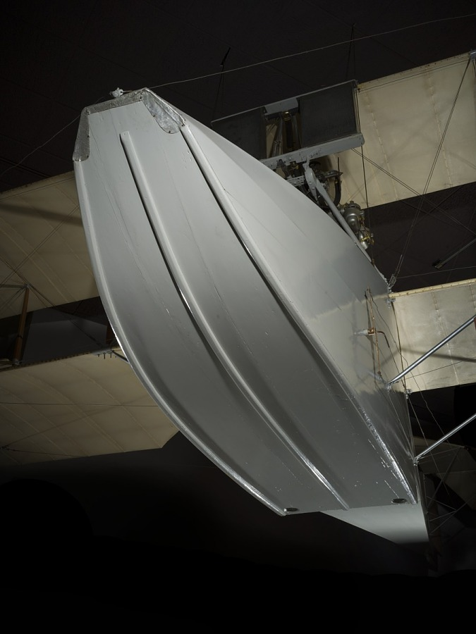 Bottom of white metal Ecker Flying Boat hanging in museum