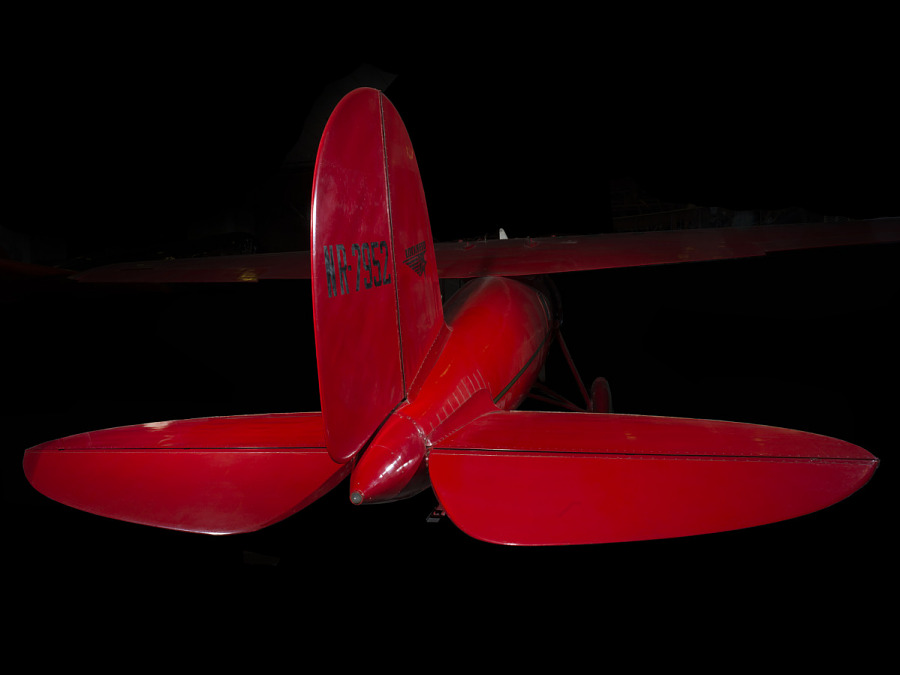 Tail of red Amelia Earhart Lockheed Vega 5B aircraft
