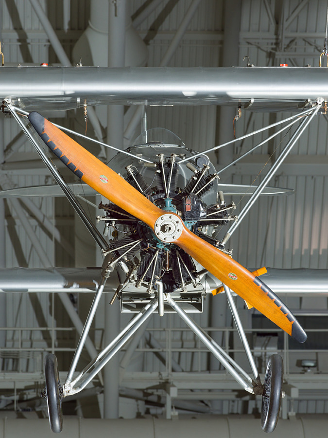 Propellers of a biplane. The biplane is hanging in the museum.