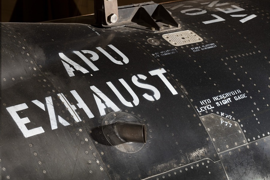 """""""APU Exhaust"""" in white lettering on black titanium North American x-15 aircraft"""