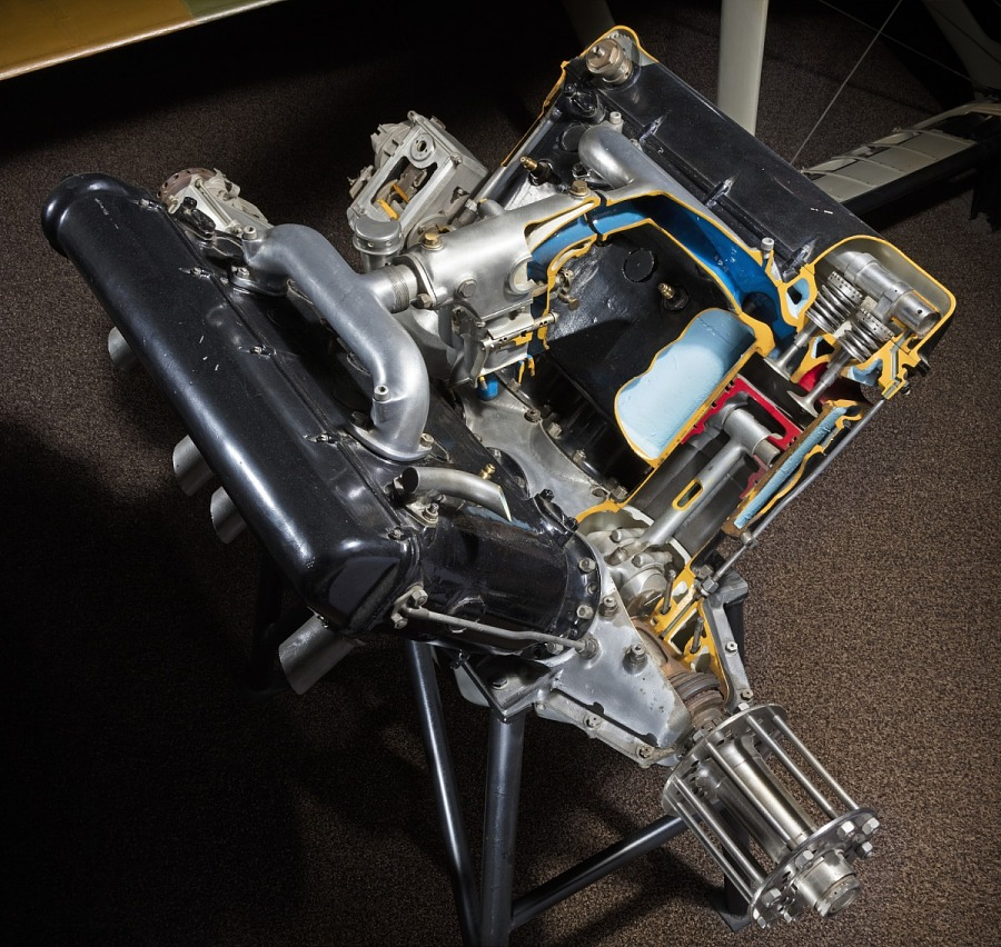 Top view of open-book shaped black metal engine
