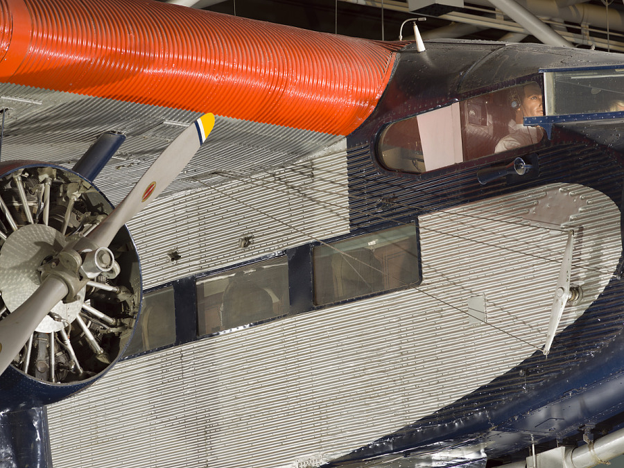 Passenger windows and engine propeller of Ford 5-AT Tri-Motor aircraft