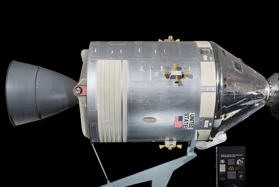 Large metal conical shaped  Apollo #105 Command and Service Modules ASTP Mockup