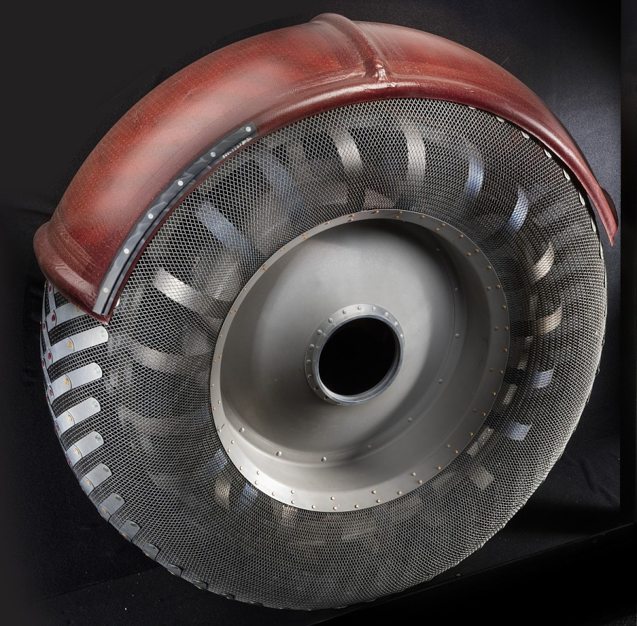Steel wire and aluminum Lunar Rover wheel with rust colored fender