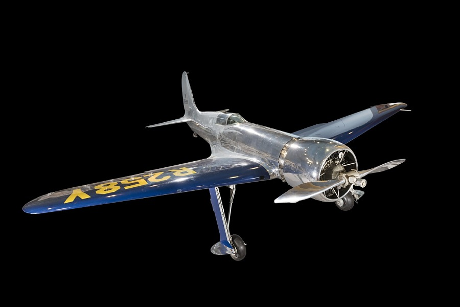 Metal and blue-winged Hughes H-1 Racer