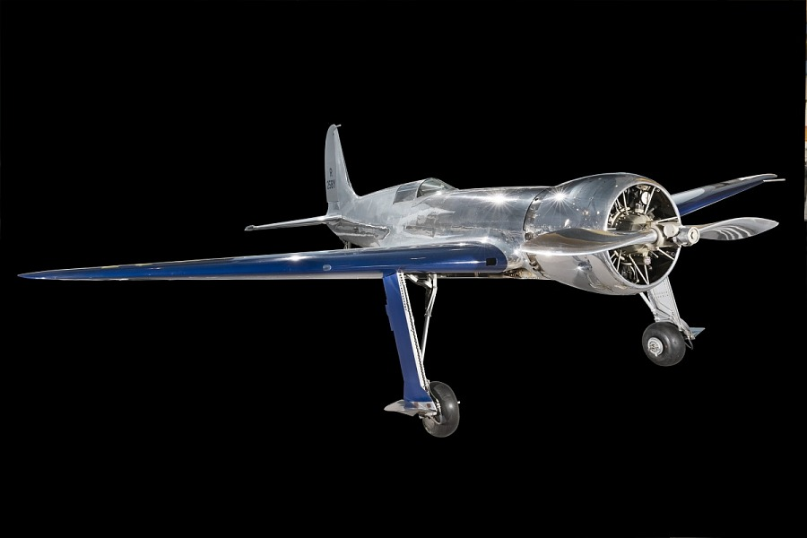 Metalic silver and blue Hughes H-1 Racer aircraft