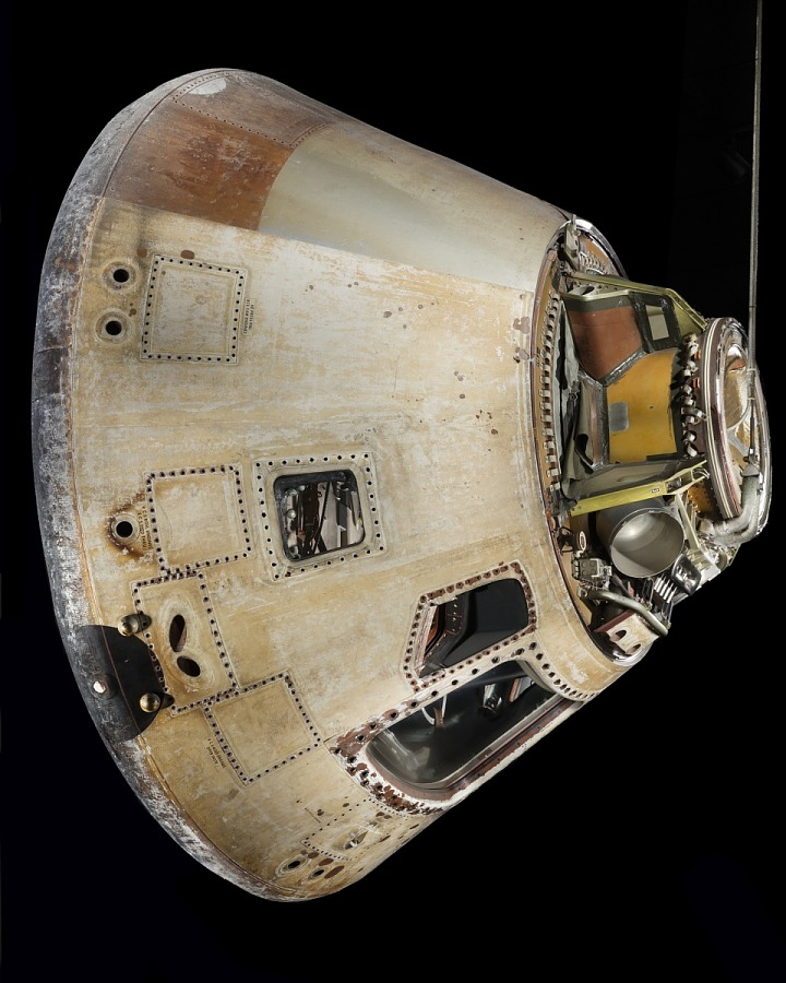 Rotated side of conical-shaped spacecraft