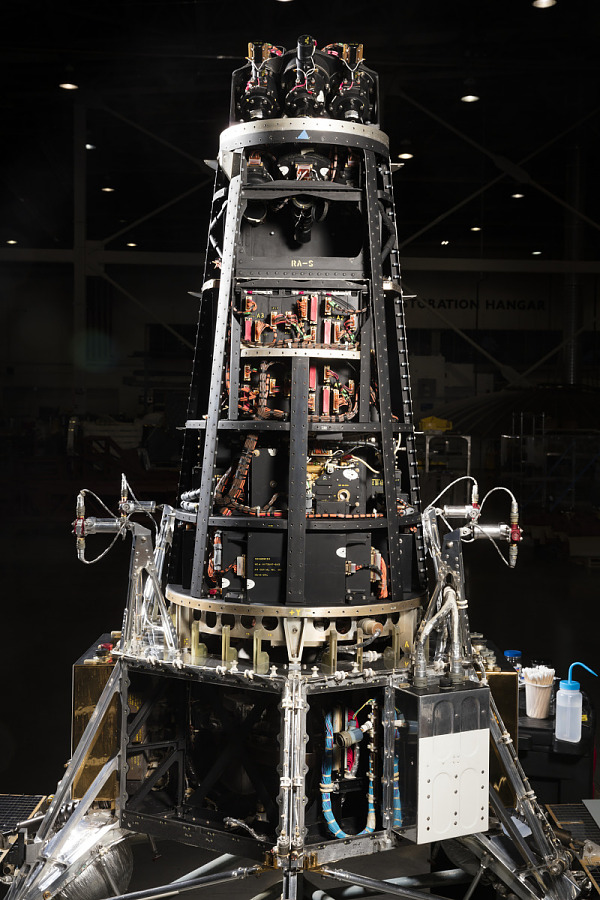 Tall black cone-shaped Ranger spacecraft with exposed wiring
