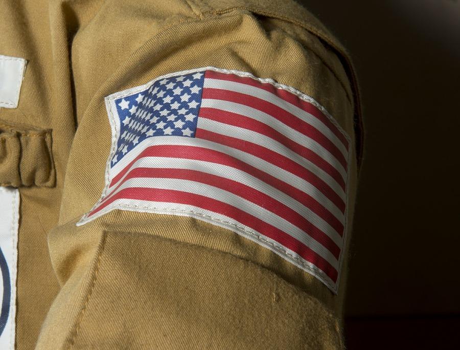 United States Flag stiched on Kerwin's tan woven durette Skylab 2 Jacket Shoulder