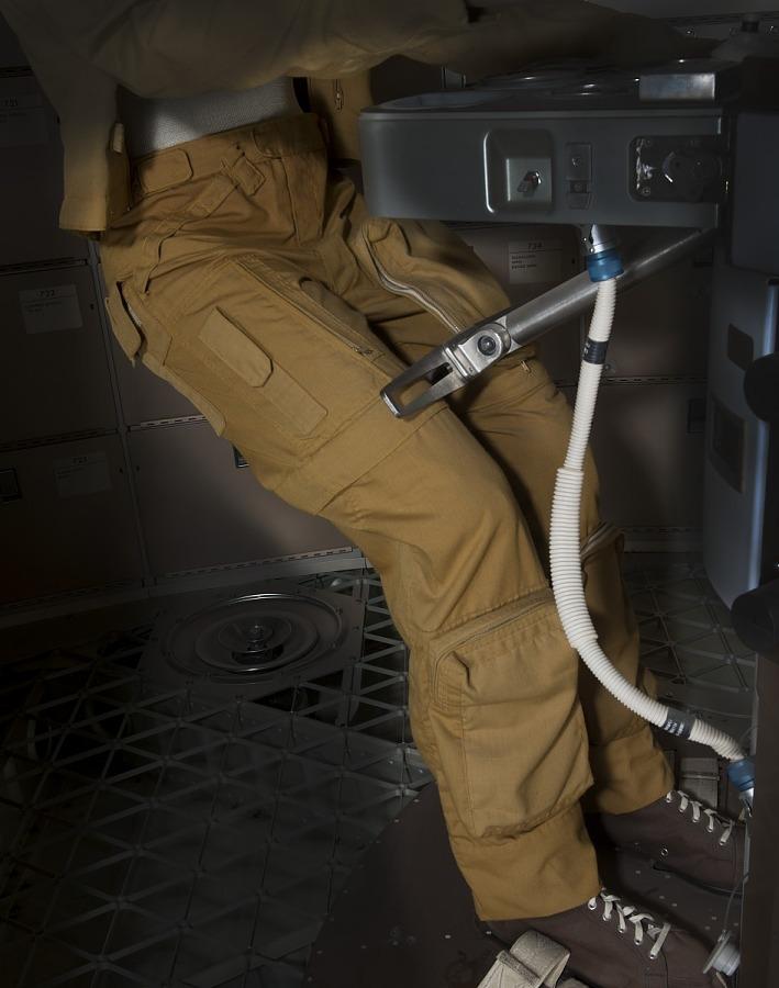 Joe Kerwin's Skylab 2 tan woven durette trousers on mannequin