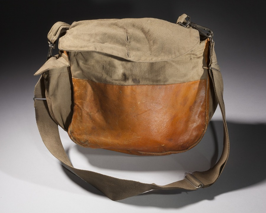 Back of leather and canvas bag with detachable strap