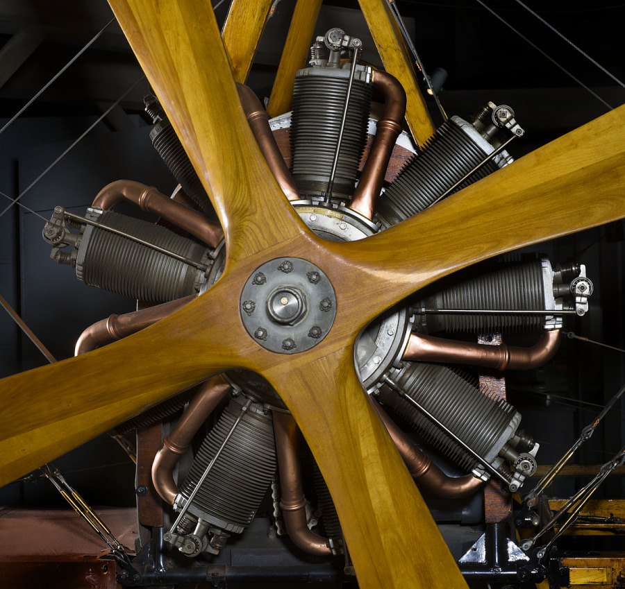 Le Rhone Rotary Engine with wooden and metal parts