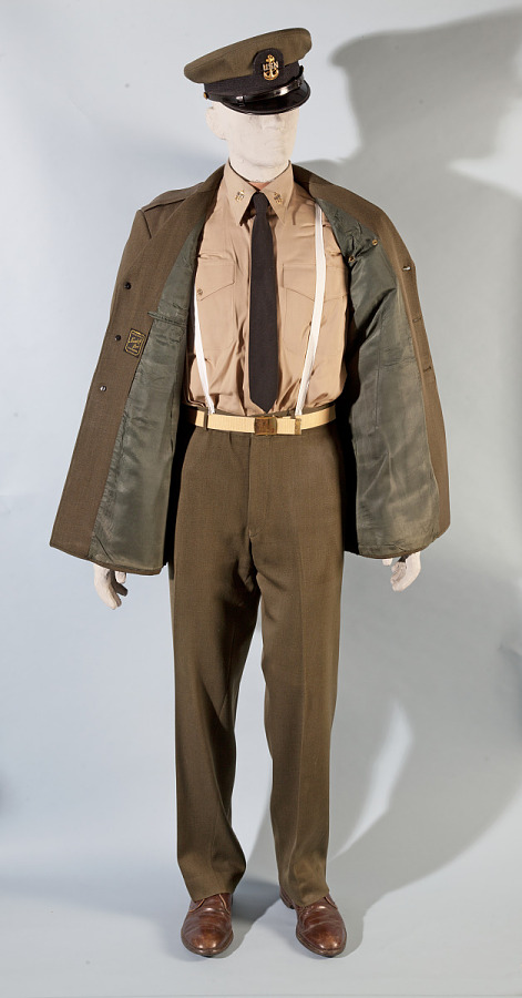 Full olive-green United States Navy Summer Service suit ensemble with unbuttoned jacket on mannequin model