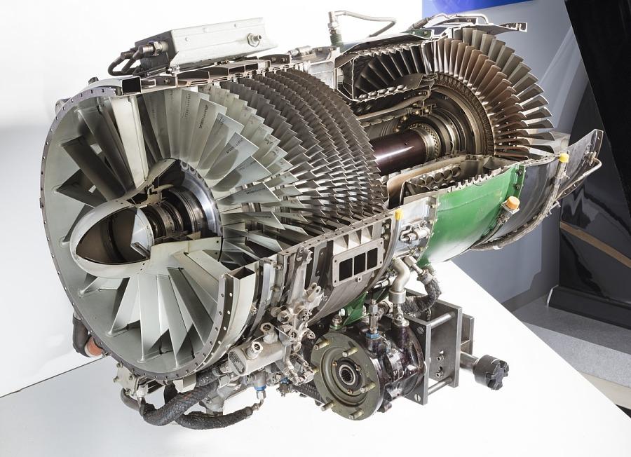Metal cylindrical General Electric J85-GE-17A Turbojet Engine Cutaway