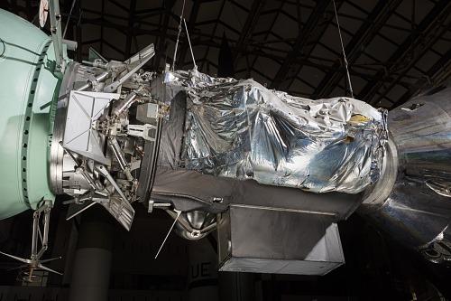 Metal foil on side of Apollo-Soyuz Test Project Backup Docking Module in museum