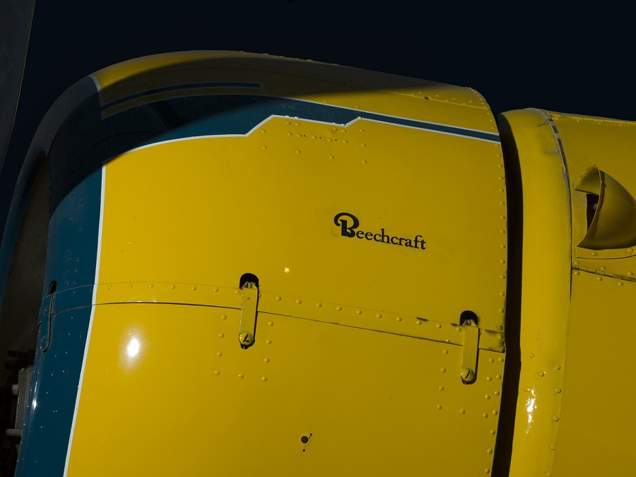 Beech Aircraft Corporation logo on side of Staggerwing engine, 'Beechcraft'