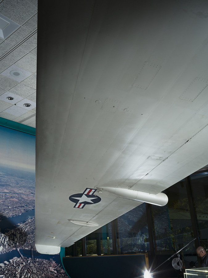Underwing with United States Air Force roundel on Lockheed U-2C aircraft on display at museum