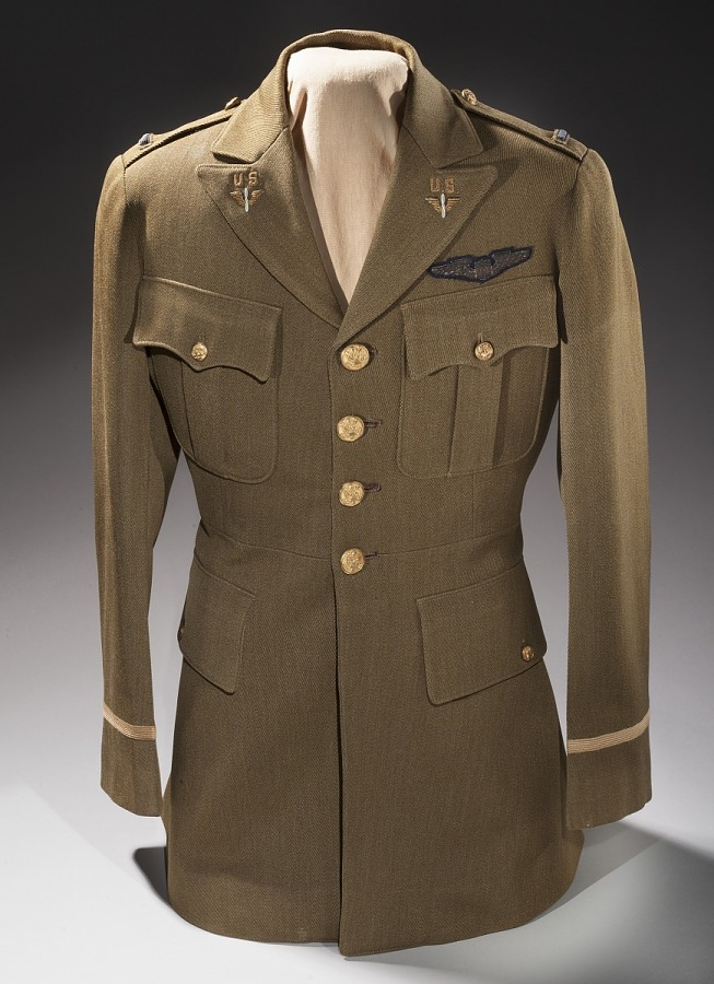 Tan, four-button United States Army Air Corps Service Officer Coat on clothing form