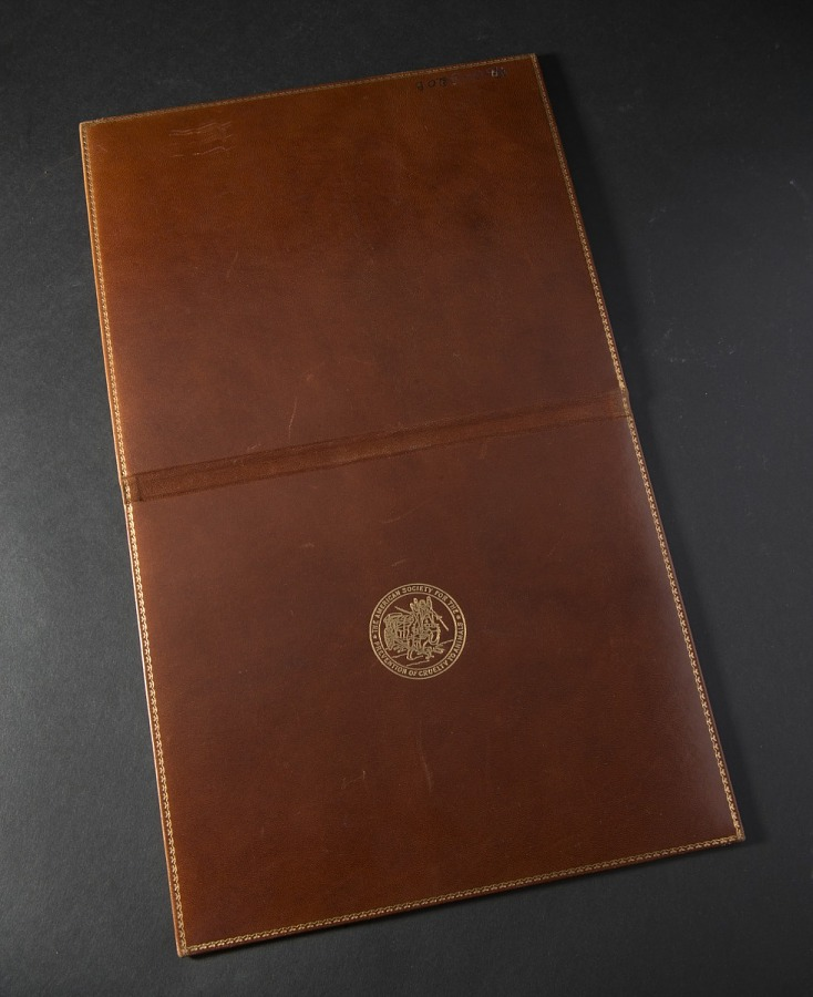 Opened brown leather certificate cover