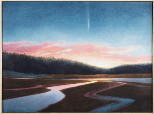 Year of the Comet Watercolor Painting featuring sunset over horizon with meteor in background