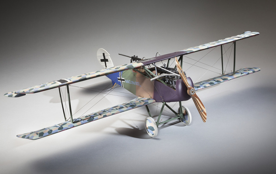 Front view of plastic exhibit model of an Imperial German Air Service Halberstadt CL.IV ground                 attack aircraft in camouflage color scheme
