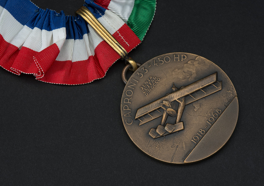 Closeup of bronze commemorative medal with image of Caproni bomber