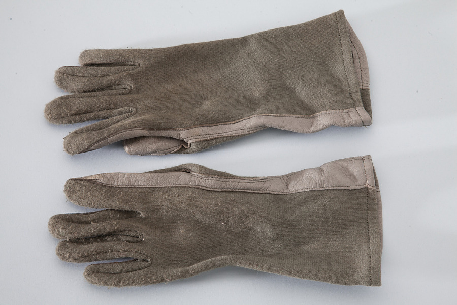 Backs of pair of brown leather United States Navy Type GS/FRP-2 Flying Gloves