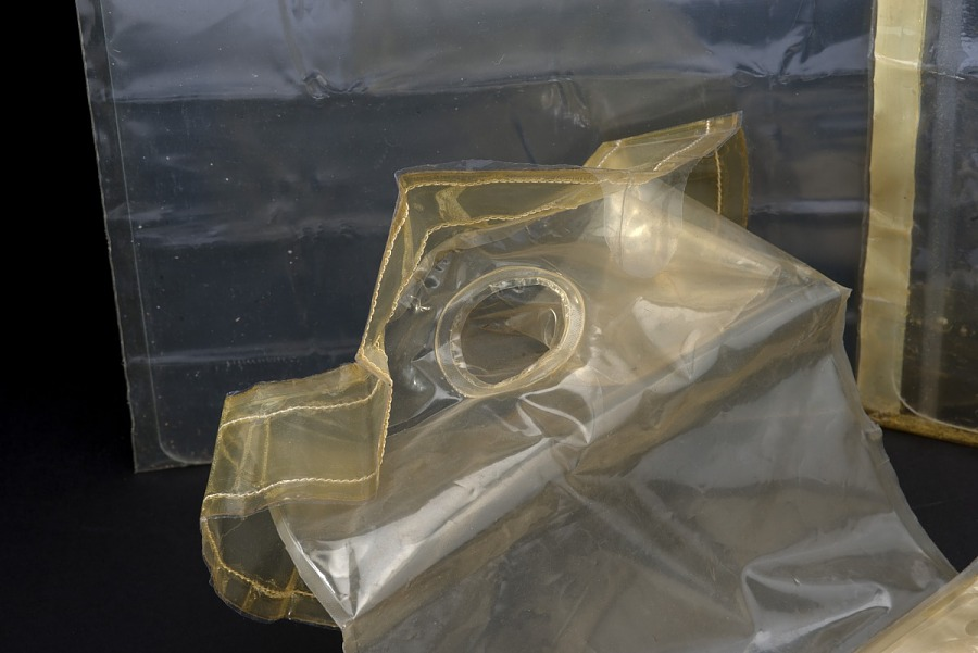 Clear plastic Apollo 11 Fecal Collection Assembly with circular hole