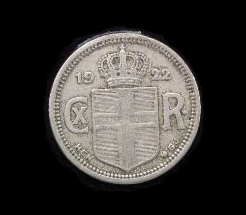 Coin, 25 Aurar, Iceland, Lindbergh