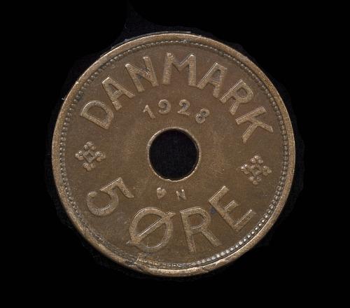 Coin, 5 Ore, Denmark, Lindbergh