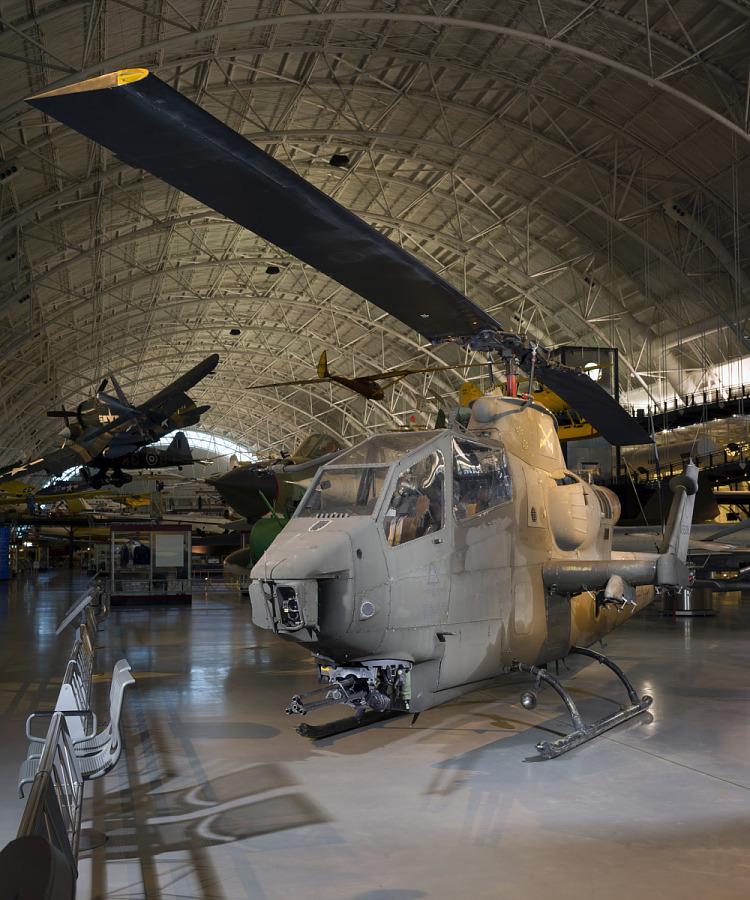 Top propeller of Bell AH-1F Cobra helicopter in museum