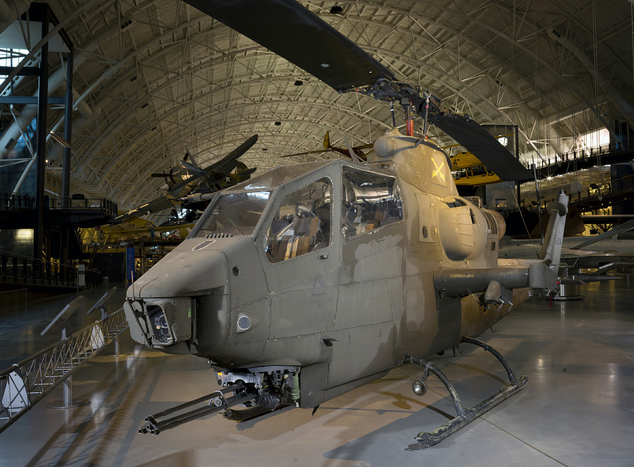 Front of Bell AH-1F Cobra helicopter in museum