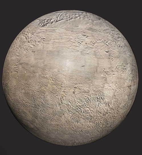 Orb with images of craters and mountains