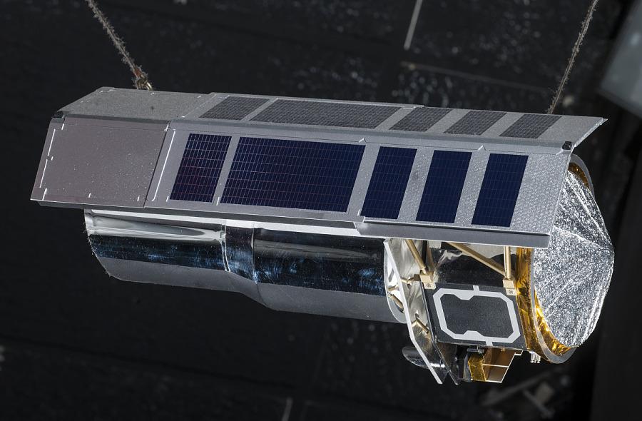 Scale model of Spitzer Telescope, hanging in museum