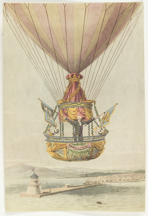 """Reproduction of """"A view of the Balloon & Car with Mr. Sadler on his way from Dublin across the Irish Channel to England 1812"""""""