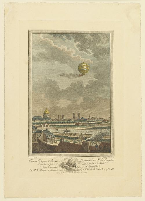 Premier Voyage Aërien En présence de Mr. le Dauphin. Experience faite dans le Jardin de la Muette. Sous la Direction de Mr. Montgolfier. Par M. le Marquis d'Arlandes et Mr. Pilatre du Rosier, le 21. 9bre. 1783.
