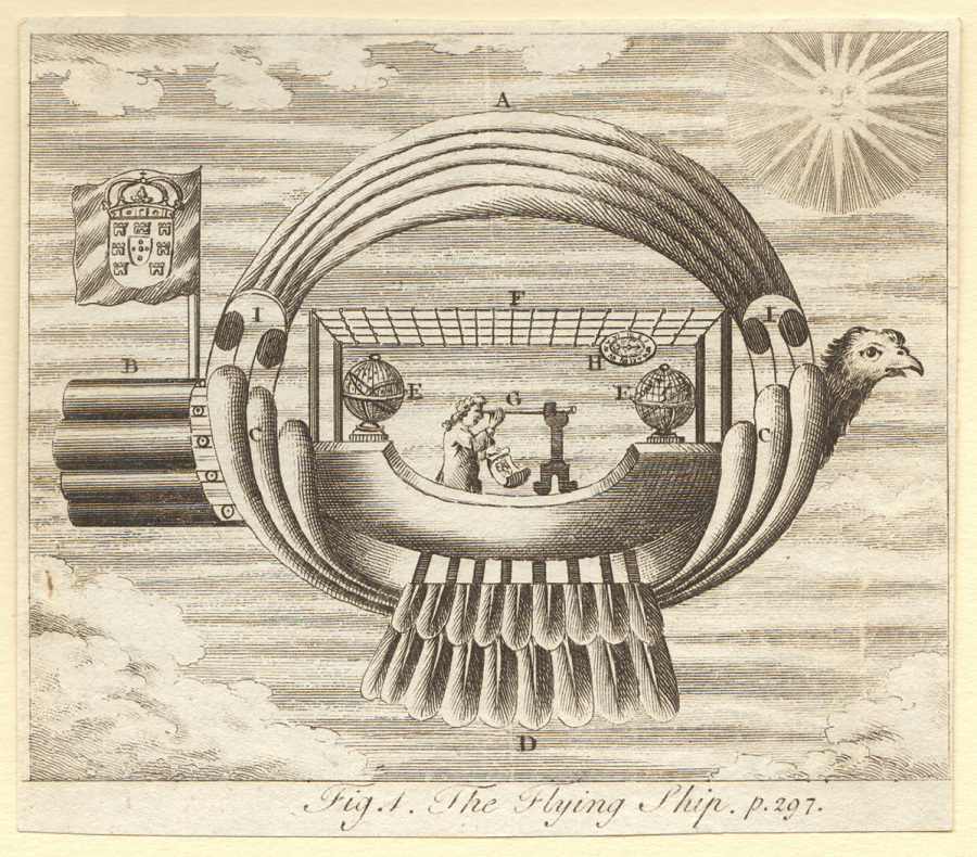 Print, Etching on Paper, Uncolored, FIG. A. THE FLYING SHIP. P. 297.